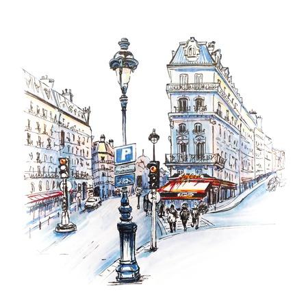 伝統的な家屋、カフェや提灯、パリ、フランス パリのストリート。画像マーカー