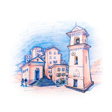 Tradicional Häuser und Glockenturm der Kirche San Lorenzo oder die Geburt von Maria Vergine in Manarola Fischerdorf in Fünf Ländern, Cinque Terre Nationalpark, Ligurien, Italien. Bildmarkierungen Standard-Bild