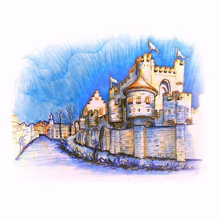 Medieval castle Gravensteen, Castle of the Counts, in Gent, Belgium. Picture made markers