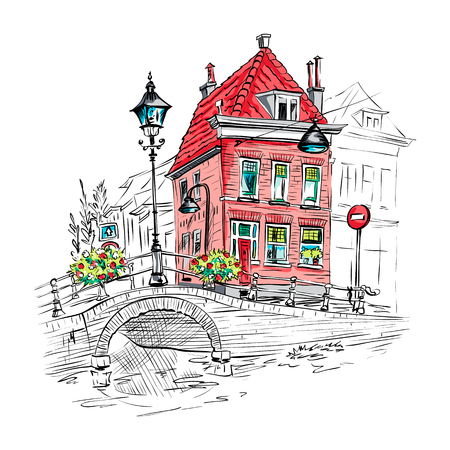 Vector color scenic city view of Delft with beautiful red medieval house, bridge and streetlight, Holland, Netherlands. Illustration