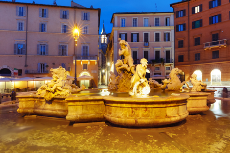 italian fountain: The Fountain of Neptune on the famous Piazza Navona Square at night, Rome, Italy.
