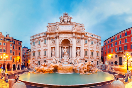 Rome Trevi Fountain or Fontana di Trevi in the morning, Rome, Italy. Trevi is the largest Baroque, most famous and visited by tourists fountain of Rome. Banco de Imagens