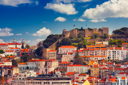 Saint George or Sao Jorge and the historical centre of Lisbon on the sunny afternoon, Lisbon, Portugal