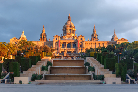 Spain square or Placa De Espanya in the golden hour at sunset, with the National Museum, in Barcelona, Spain Stok Fotoğraf