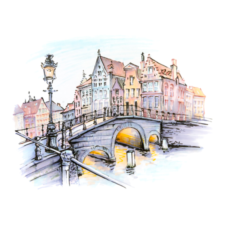 Scenic city view of Bruges canal with bridges, streetlight and beautiful medieval houses at sunset, Belgium. Picture made markers