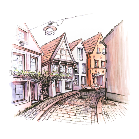 Scenic city view of typical narrow German street in the district of Schnoor in the medieval center of the city of Bremen, Germany. Picture made markers