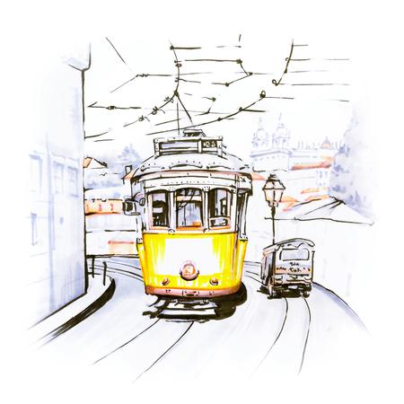 아름 다운 도시보기 Alfama, 오래 된 마을, 리스본, 포르투갈의 가장 오래 된 지구의 거리에 유명한 빈티지 노란색 28 tram. 그림 만든 마커