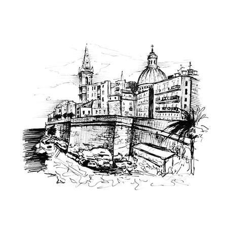 Black and white sketch of embankment of Valletta, Malta. Picture made liner