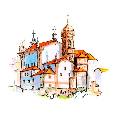 Scenic city view of Typical Portuguese houses and church in Porto, Portugal. Picture made markers Stock Photo