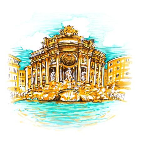 Rome Trevi Fontein of Fontana di Trevi 's ochtends, Rome, Italië. Trevi is beroemdst en bezocht door de toeristenfontein van Rome. Picture made markers Stockfoto