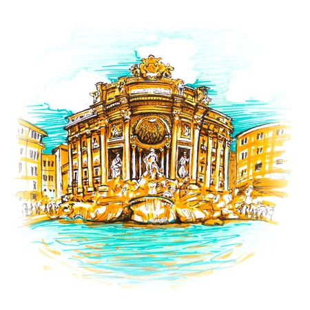 Rome Trevi Fountain or Fontana di Trevi in the morning, Rome, Italy. Trevi is most famous and visited by tourists fountain of Rome. Picture made markers