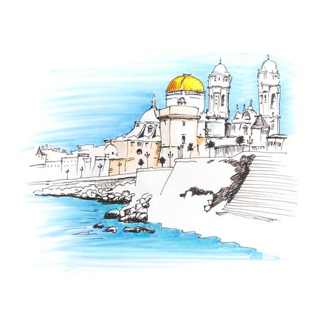 プラヤ ・ デ ・ ラ ・ サンタマリア、カディス、アンダルシア、スペインの朝の大聖堂・ デ ・ サンタクルス。画像マーカー