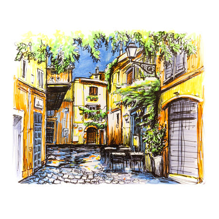 Scenic city view of typical narrow alley in Trastevere, Rome, Italy. Picture made markers