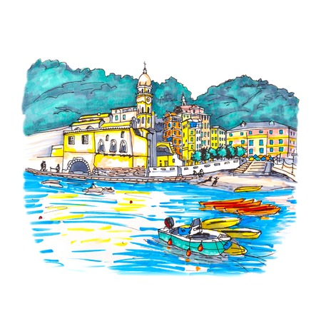 Colorful fishing boats and Santa Margherita di Antiochia Church in Vernazza harbour in Five lands, Cinque Terre National Park, Liguria, Italy. Picture made markers