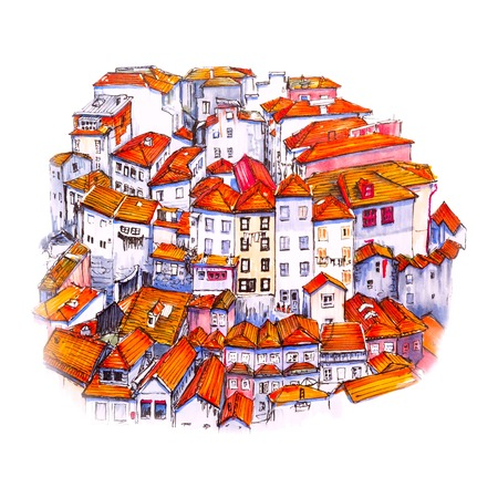 Scenic city view of Typical Portuguese houses in Porto, Portugal. Picture made markers