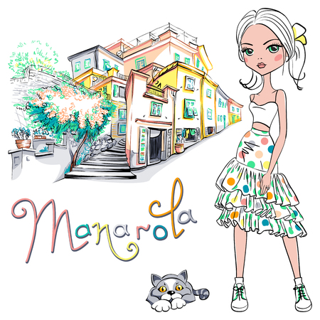 Cute beautiful fashion girl in summer dress and cute cat in Manarola, Five lands, Cinque Terre National Park, Liguria, Italy. Illustration