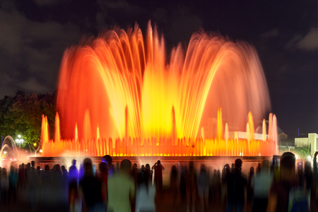 montjuic: Famous light show and magic fountain at Placa Espanya in Barcelona at night, Catalonia, Spain