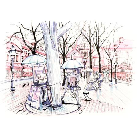 Winterplein Place du Tertre op Montmartre, Parijs, Frankrijk. Afbeelding gemaakt markers