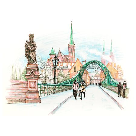 wroclaw: Cathedral Island or Ostrow Tumski with bridge, Cathedral of St. John and church of the Holy Cross and St. Bartholomew in Wroclaw, Poland. Hand drawn picture made markers and liner