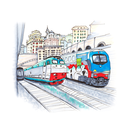 Colorful trains at the railway station in Genoa, Liguria, Italy. Sketch made markers