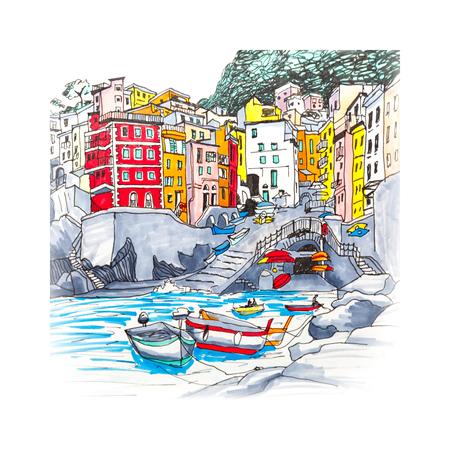 다채로운 낚시 보트 및 5 땅, Cinque Terre 국립 공원, 리구 리아 주, 이탈리아에서에서 Riomaggiore 하버에서 재미있는 집. 그림 만든 마커
