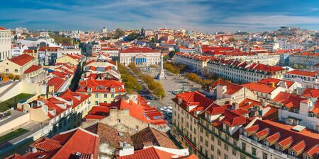 Aerial panoramic view over Dom Pedro IV square, also know as Rossio, in Lisbon, capital of Portugal Stock Photo