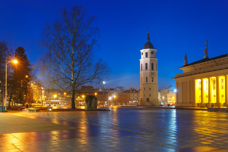 Cathedral Square, Cathedral Basilica of St Stanislaus and St Vladislav and bell tower during evening blue hour, Vilnius, Lithuania, Baltic states. Stock Photo