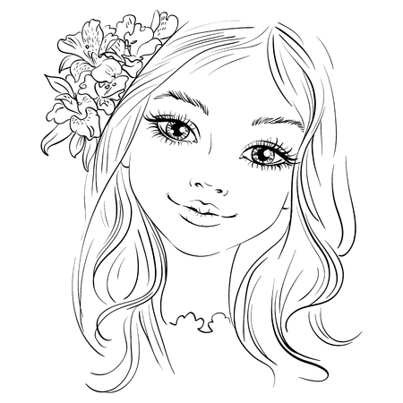 Hand drawn beautiful girl with flower in hair. Vector illustration. T-shirt print