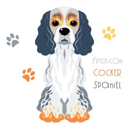 Cute funny tricoloured dog American Cocker Spaniel breed vector