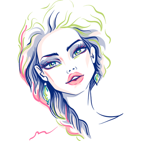 longhaired: Hand drawn beautiful blond girl. Vector illustration. T-shirt print