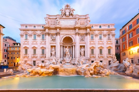 Rome Trevi Fountain or Fontana di Trevi in the morning, Rome, Italy. Trevi is the largest Baroque, most famous and visited by tourists fountain of Rome. Stock Photo