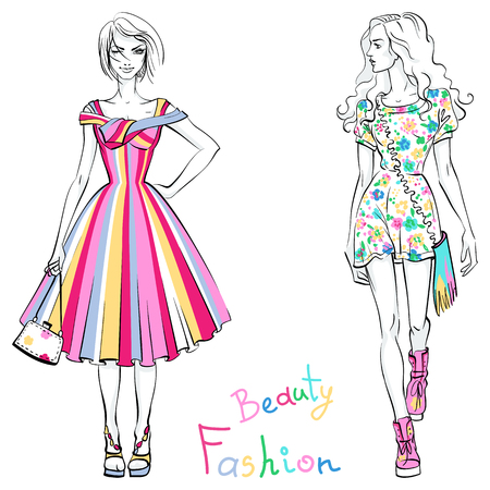 longhaired: Vector beautiful fashionable girls in colorful dresses with inscription Beauty and Fashion. Illustration