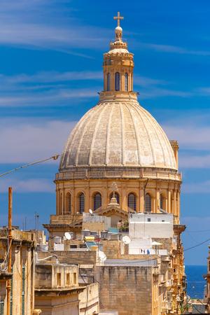 Dome of churche of Our Lady of Mount Carmel, Valletta, Capital city of Malta Stock Photo