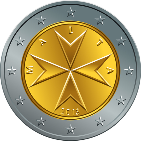 Obverse Maltese money gold two euro coin with the image of Maltese cross Иллюстрация