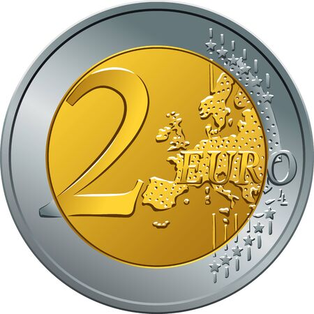 Omgekeerde gouden en zilveren geld gouden munt twee euro.
