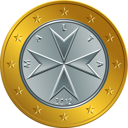 Obverse Maltese money gold one euro coin with the image of Maltese cross Illustration