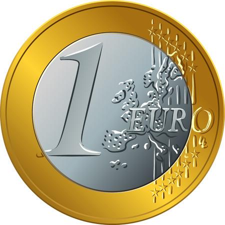 Reverso de oro y plata dinero moneda de oro onr euro Foto de archivo - 85423784