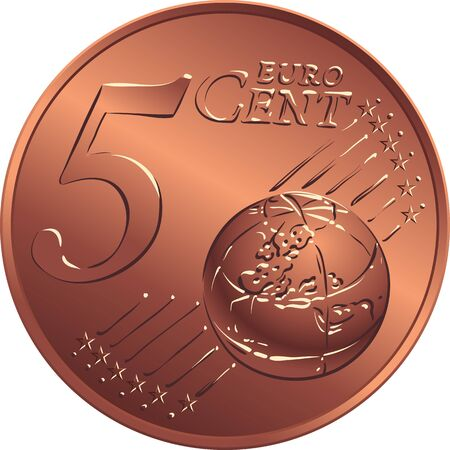 Reverse bronze money five euro with Value Illustration
