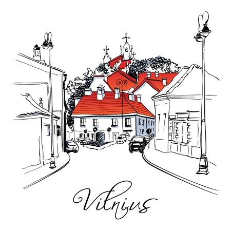 ビリニュス、リトアニアの旧市街の典型的な通りベクトル色の手の図面、。  イラスト・ベクター素材