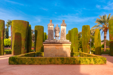 Stone Statues of Christopher Columbus and Catholic Monarchs, Queen Isabella I of Castile and King Ferdinand II of Aragon, in the gardens of the Alcazar in Cordoba, Andalusia, Spain Banco de Imagens