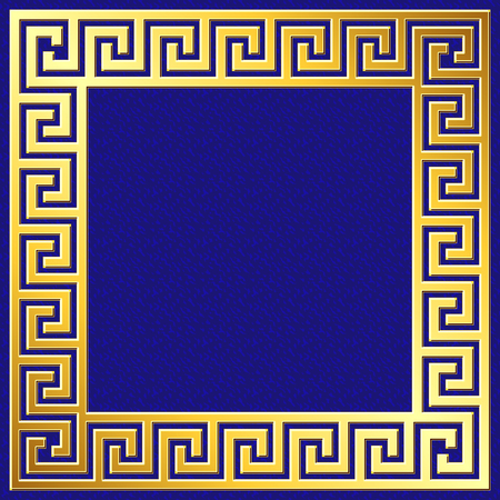 Golden square frame with traditional vintage Greek Meander pattern on blue background for design template. Illustration