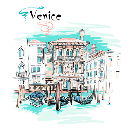 Vector picturesque view with Palazzo in Venetian Gothic style on the Grand Canal in summer day, Venice, Italy. Stock Vector - 87123900