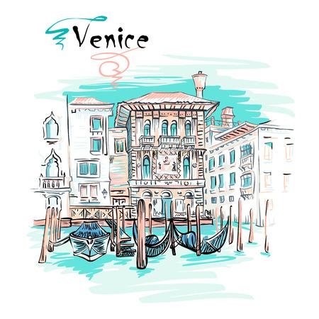 Vector schilderachtige mening met Palazzo in Venetiaanse Gotische stijl op Grand Canal in de zomerdag, Venetië, Italië. Stock Illustratie