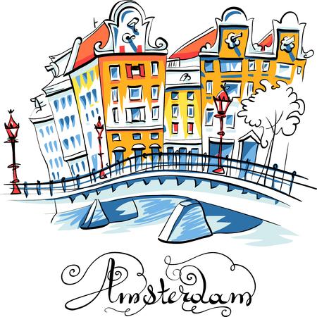 色手描き、オランダ、オランダ、アムステルダムの典型的な家のシティー ビュー。