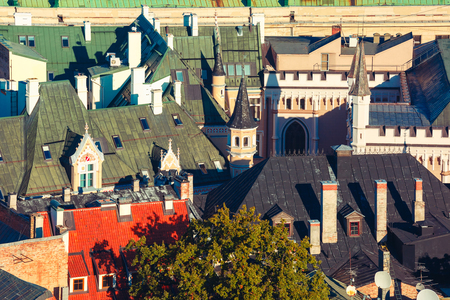 Aerial view of the roofs of the houses and tower in Old Town of Riga, Latvia