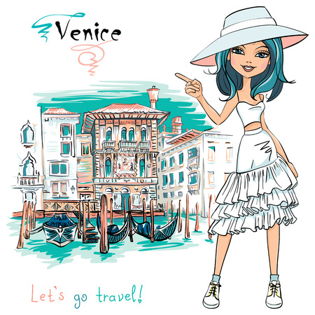 Vector cute beautiful fashion girl in in white t-shirt, hat and skirt,, Venice, Italia.