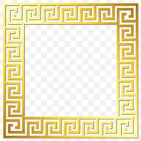 Square frame with traditional vintage Golden Greek ornament, Meander pattern on transparent background. Gold pattern for decorative tiles 向量圖像