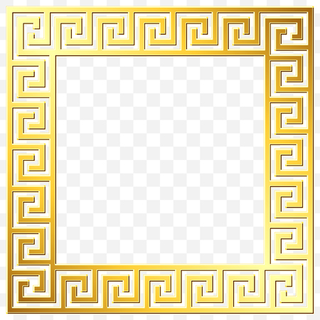 Square frame with traditional vintage Golden Greek ornament, Meander pattern on transparent background. Gold pattern for decorative tiles Illustration