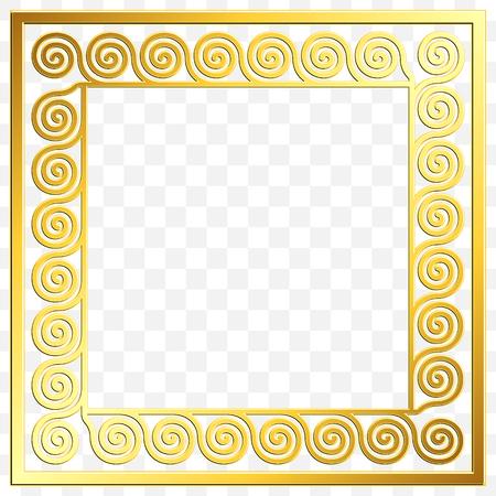 Square frame with traditional vintage Golden Greek ornament, Meander pattern on transparent background. Gold pattern for decorative tiles Illustration