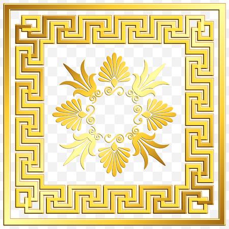 Ornamento grego quadrado dourado do vintage tradicional, meandro e teste padrão floral no fundo transparente. Padrão de ouro para azulejos decorativos Foto de archivo - 88047829